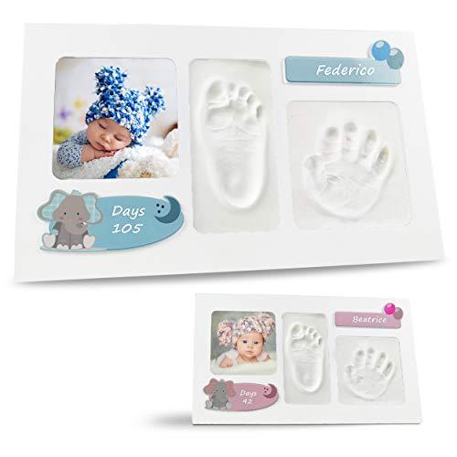 LALFOF® Marco de huellas de bebes ELEPHANT con nombre. Kit para huella de manos y pies para recien nacidos.Ideal como regalos originales para lista de nacimiento niños y niñas