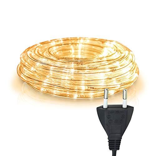 Hengda 10m LED Lichtschlauch Warmweiß, Wasserdicht Lichterkette Strombetrieben, 240 LEDs Lichterschlauch, für Dekoration, Party, Garten, Hochzeit