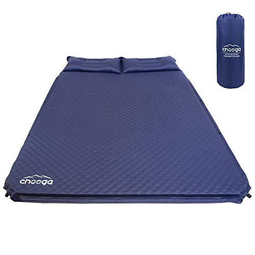 Chooga Double Sleeping Pad for 2 Person Comfortable Camping Self-Inflating Pad Foam Mattress for Car Camping Travel Hiking with Ergonomic Built-in Pillow