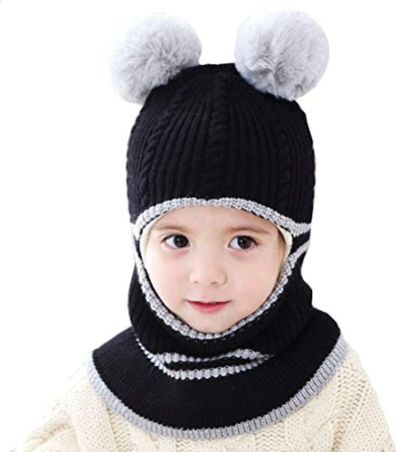 Uniyoung Girls Boys Winter Warm Hat Toddler Baby Knit Fleece Lining Beanie Hat Earflap Hood Scarves Kids Balaclava Hat Skiing Snowboard Cap for Age 1-5