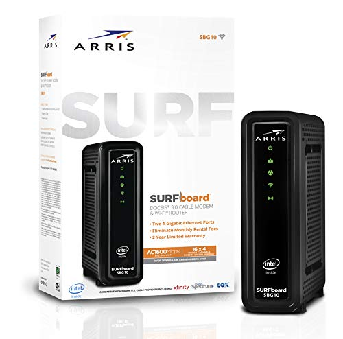 ARRIS Surfboard SBG10 DOCSIS 3.0 Cable Modem & AC1600 Dual Band Wi-Fi Router, Approved for Cox,...