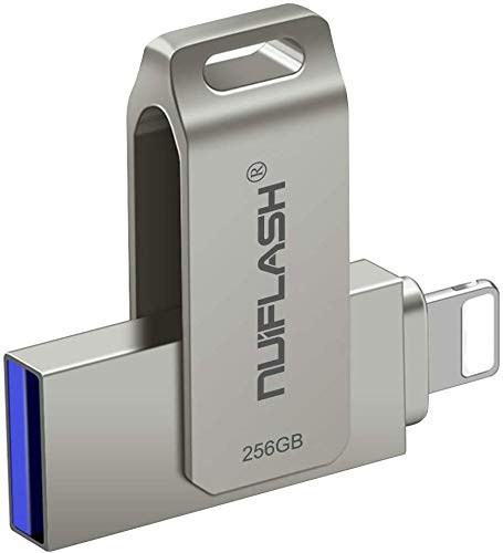 USB Drive 256GB for iPhone Photo Stick USB 3.0 Flash Drive [3 in 1] Memory Stick nuiflash Thumb Drive Jump Drive Compatible for iPhone/iPad/PC/Android(256GB-Silver)