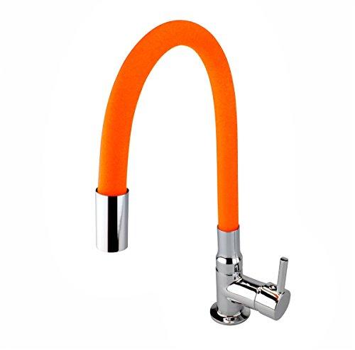 Atco - Grifo de agua fría para lavabo, color naranja y cromado