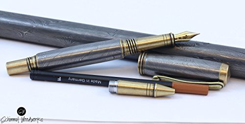 Handmade Schimmel Pen, Real Handmade Damascus Steel fountain pen & rollerball pen, Comes in gift box tuned and tested nib of your choice!!