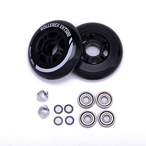 Rollerex VXT500 Inline Skate/Rollerblade Wheels (2-Pack w/Bearings, spacers and washers) (Steel Black, 72mm)