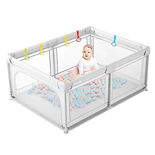 Laufstall Baby Dripex Laufgitter Absperrgitter mit atmungsaktivem Netz 120x180cm Schutzgitter Krabbelgitter für Kinder, große Sicherheitsspielplatz, Grau