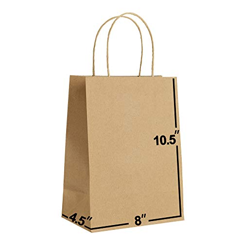 [50 Bags] 8 X 4.5 X 10.5 Kraft Paper Gift Bags Bulk with Handles. Ideal for Shopping, Packaging, Retail, Party, Craft, Gifts, Wedding, Recycled, Business, Goody and (Brown)