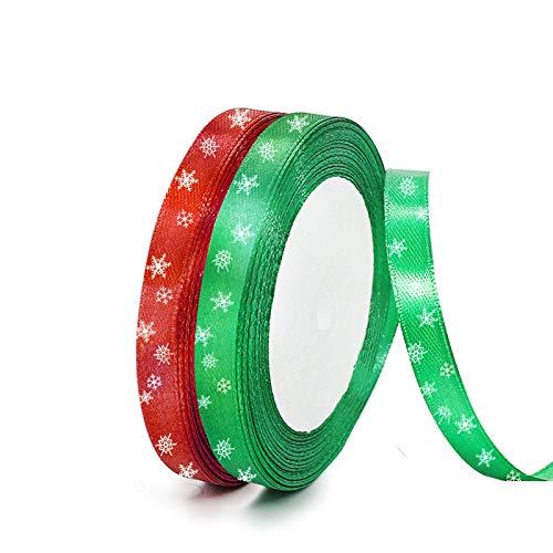 FYKERO Cinta de Navidad roja verde para manualidades, paquete de 2 cintas de 10 mm de ancho y 23 m de largo, para envolver manualidades, decoraciones de árbol de Navidad