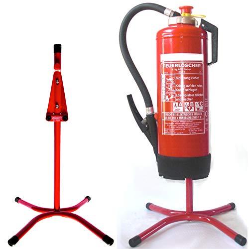Feuerlöscher Ständer Halter gerade Rohrstahl in rot mit X - Fuß (rot mit X-Fuß)
