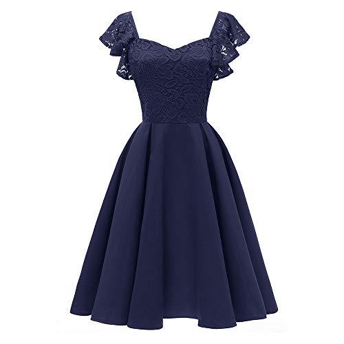 MIRRAY Damen Prinzessin 2018 Blumenspitze Cocktail V-Ausschnitt Party Aline Vintage Swing Kleid