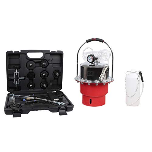 ABN Pneumatic Brake Bleeder Kit One Person Brake System Bleeding Tools Clutch Bleeder Pump, Pressure Gauge, 11 Adapters