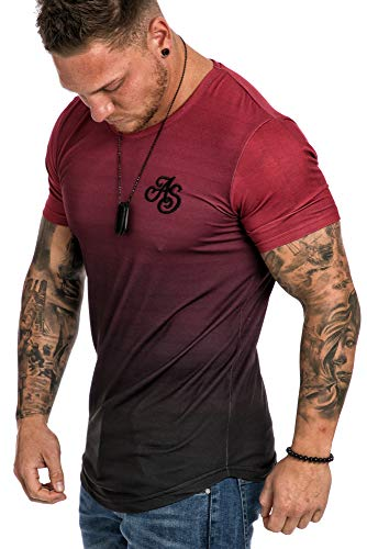 Amaci&Sons Crew Neck V Body-Fit Bi-Color Sommer T-Shirt Rundhals-Ausschnitt 6105 Bordeaux/Schwarz S