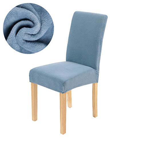 AOM Solid Color Dining Chair Cover Velvet Chair Covers Spandex Warm Soft Fluff Seat Cover Wedding Kitchen Office Restaurant Dropship,6-Light Blue,Universal