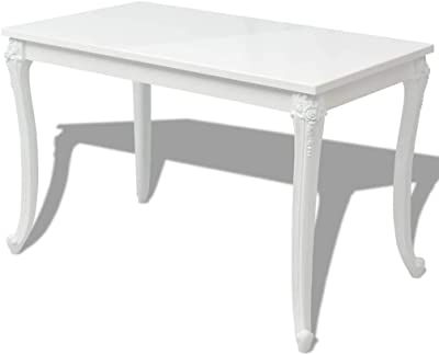 Amazon Com Vidaxl Dining Table 45 7 High Gloss White Dinner Table Home Kitchen Desk Tables