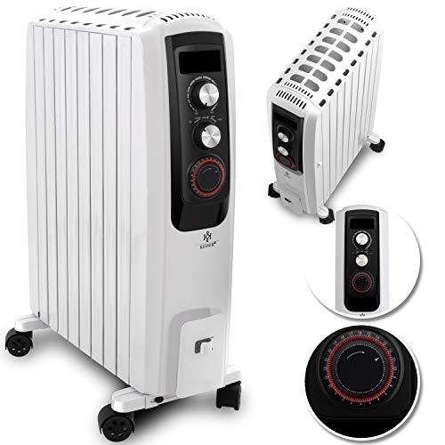KESSER® 2000W Ölradiator - elektrischer, energiesparender Heizkörper mit 8 Rippen, Timer integrierter Zeitschaltuhr 4 Heizstufen Thermostat Sicherheitsabschaltfunktion Weiß