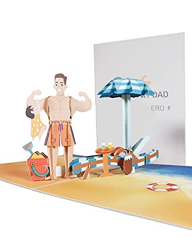 Biglietti Augurali Compleanno, 3D Pop-up Biglietto di Auguri con Spiaggia Sabbiosa, Biglietto di...