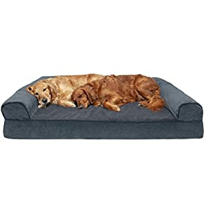 Furhaven Pet Dog Bed – Orthopedic Faux Fleece and Chenille Soft Woven Traditional Sofa-Style Living Room Couch Pet Bed with Removable Cover for Dogs and Cats, Orion Blue, Jumbo Plus