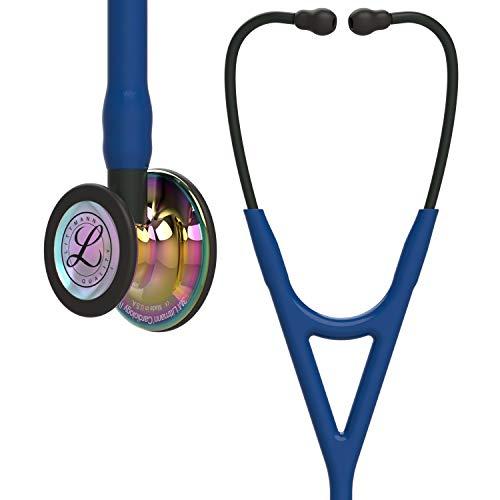 3M Littmann Cardiology IV Fonendoscopio para diagnóstico, campana de acabado de alto brillo en arcoíris, tubo Azul Oscuro y vástago y auricular color Negro, 69cm, 6242