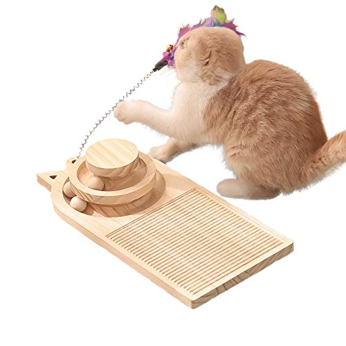 Zakynuye Cat Turntable Scratcher, Wooden Cat Scratching Board Toys, Double Layer Cat Turntable with Interactive Ball and Cat Scratching Board, Cat Track Toys, Wooden Cat Toy