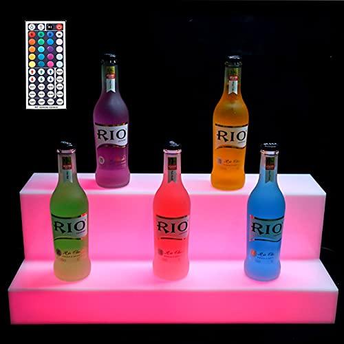 Półka Butelki Alkoholem Podświetlana Dioda LED Butelki Wino Strona Główna Cimmercial Bar Półki Butelki Alkoholem, Napoje Przechowywanie Oświetlenie Stojak Pilotem,24in