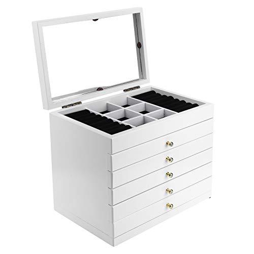 Dioche - Joyero con 5 cajones, joyero de oficina, con espejo, se utiliza para guardar anillos, pulseras y joyas para niñas, aproximadamente 30 x 18,8 x 24,6 cm