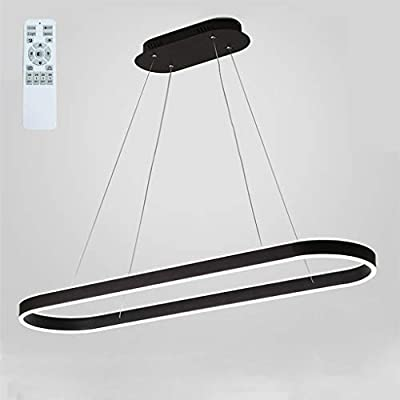 Modern Chandelier Circular LED Dimmable 66W 1 Linear Chandelier LED Acrylic Pendant Chandeliers Lighting Contemporary Dining Table Entry Kitchen Island with Remote Hanging Light (Black)