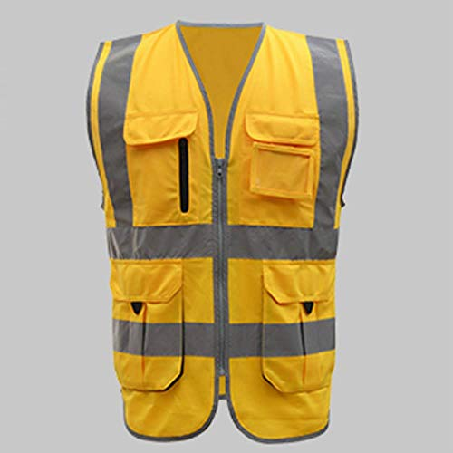 Vest Reflecterende Veiligheid Hoge Zichtbaarheid Geel Reflecterende Vest Bouw Vest Met Logo XL-Chest124cm goud