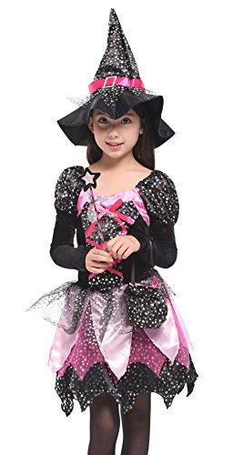 Cloudkids Disfraz de Bruja para Niñas Infantil con Sombrero de Bruja Hechicera- Niña - Disfraz - Carnaval - Halloween - Cosplay - Accesorios - Talla M,3 a 4 años