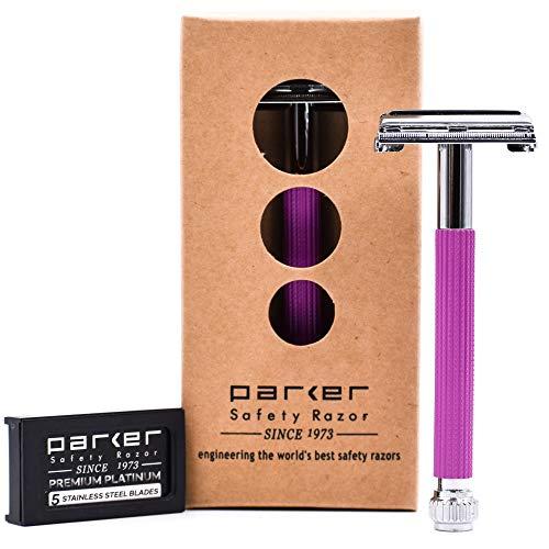 Parker 29L Long Handle Women's Double Edge Safety Razor and 5 Parker Premium Platinum Blades (Lavender)
