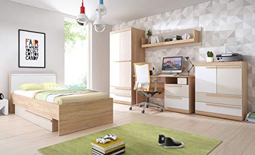 Jugendzimmer Komplett - Set A Hassine, 5-teilig, Farbe: Buche/Weiß/Champagne