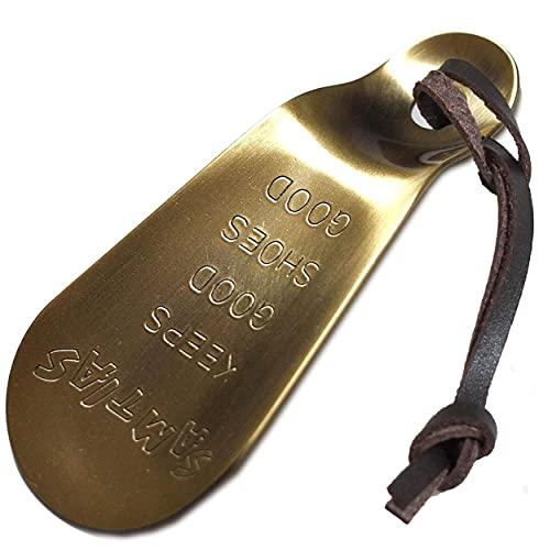SAMTIAS 携帯 靴べら 真鍮 金属 ハンド シューホーン アンティック (本革 キーホルダー ストラップ付き)