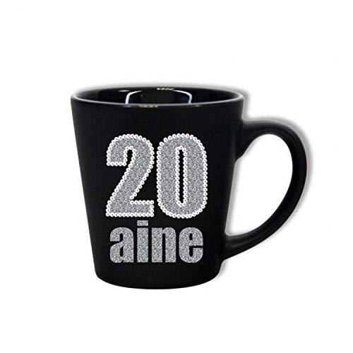 Mug Anniversaire 20 ans - Noir et Paillettes