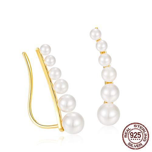 Nobrand Creolen für Damen, Silberohrringe, Tropfenform, Perlenohrringe, einzigartiges elegantes Geschenk
