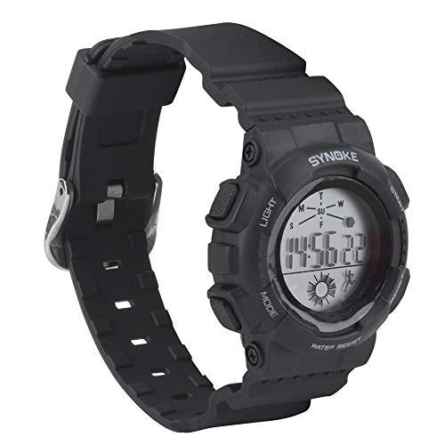 Keenso Reloj Deportivo para niños, Unisex Niños Niños Reloj Deportivo Impermeable Banda LED Impermeable Reloj Deportivo Digital Reloj electrónico Encendedor(Negro)