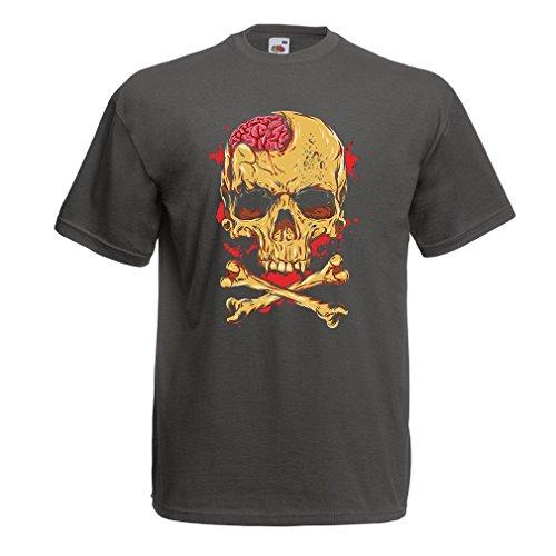 lepni.me Camisetas Hombre La Calavera (Medium Grafito Multicolor)