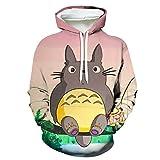 Sudadera con Capucha Totoro Anime Ropa Deportiva Impresión Digital 3D Cosplay Jersey Informal Suelto Hoodie Pullover Sweatshirt,3XL