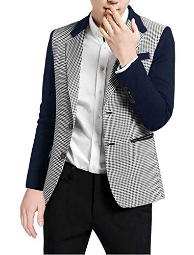 Allegra K Chaqueta Casual para Hombres Patrón De Pata De Gallo Hombros Acolchado Blazer De Dos Botones-Azul Marino/XL (US 46),XL (EU 56)