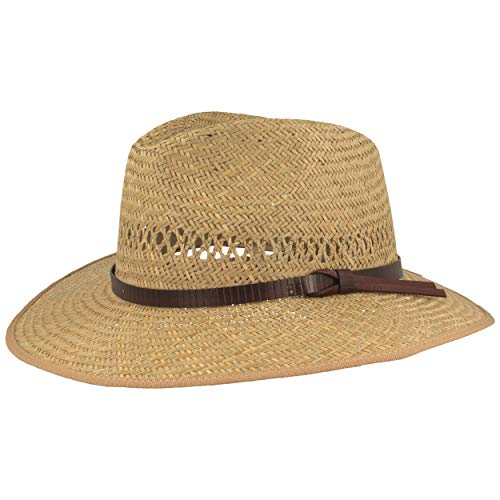 Strohoed | zomerhoed | zonnehoed – van 100% stro Made in Italy – met kunstlederen garnituur – bijzonder licht, huidvriendelijk en comfortabel – natuur