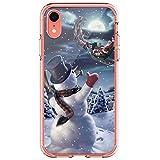 MSPTER - Carcasa para iPhone XR, diseño navideño de Papá Noel con muñeco de Nieve y Dibujos de...