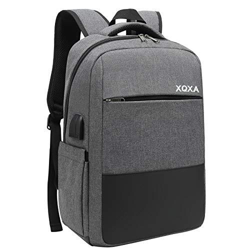 XQXA Mochila Unisex Impermeable para Ordenador Portátil de hasta 15.6 Pulgadas, con Puerto USB, conector para Auriculares y Bolsillo Antirrobo. Para los estudios, viajes o trabajo (Gris)