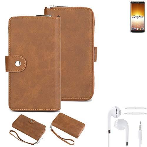 K-S-Trade 2in1 Handyhülle Für Energizer P600S + Kopfhörer Schutzhülle und Portemonnee Schutzhülle Tasche Handytasche Hülle Etui Geldbörse Wallet Bookstyle Hülle Braun (1x)