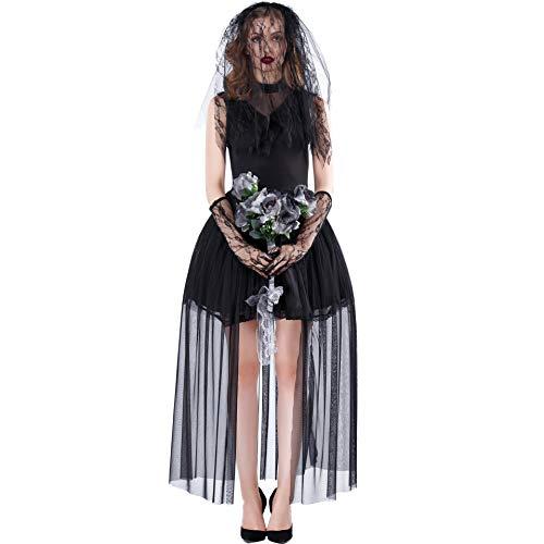 MBEN Halloween Lady Horror weiblicher Geist Diablo Umhang Hexe Kostüm, Vampir-Braut Halloween-Thema-Partei-Kostüm-Halloween-Kostüm, Schleier + Handschuhe + Kleid