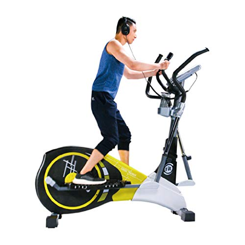V-950X Extra Length Motorized 19' Stride Programmable Elliptical Cross Trainer - Cardio Fitness Strength Conditioning Workout with Wireless HRC Receiver for home use or gym (V-950X, Yellow/Black)