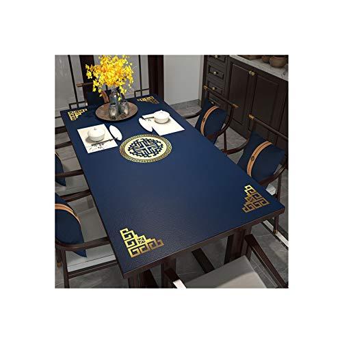 Goplnma Mantel lavable para mesa de jardín, protector de mesa, protección antimanchas, fácil de limpiar, lavable, para mesa de comedor, cocina, 90 x 140 cm, color azul