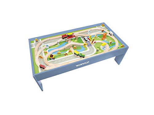 Wood'n'Play – Mesa infantil con circuito y tren, mesa de actividades con juego de tren y accesorios, 80 piezas, juguetes de madera para niños