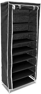 Relaxdays - Armario para Zapatos/Zapatero de 9 Pisos Hecho de Polipropileno, 36 Pares de Zapatos, 30 x 60 x 151 cm, Color Negro