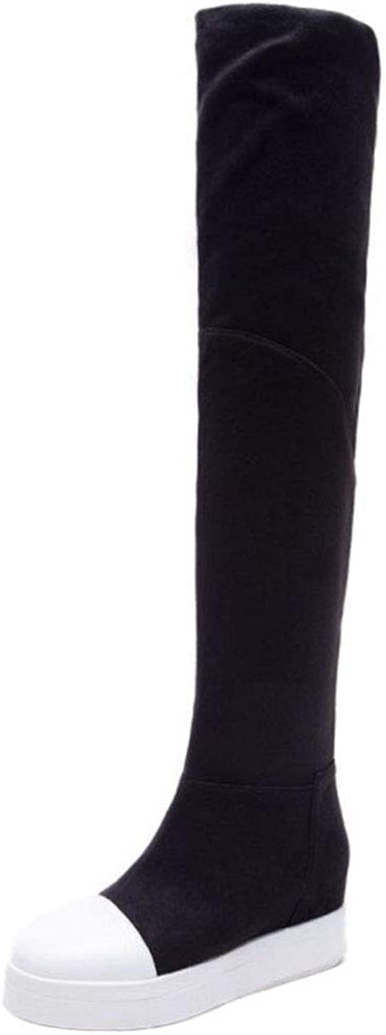 Unm Women's Fashion Wedge Heel Over The Knee Boots
