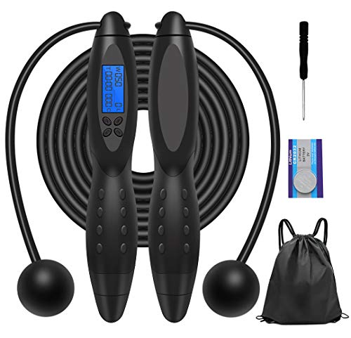 Jump Rope, Digital Smart Fitness Sport Skipping Ropes, with Calories Counter/Timer/Weight Setting Suitable for Fat BurningFitness Exercise Adult, Kids, Women Available