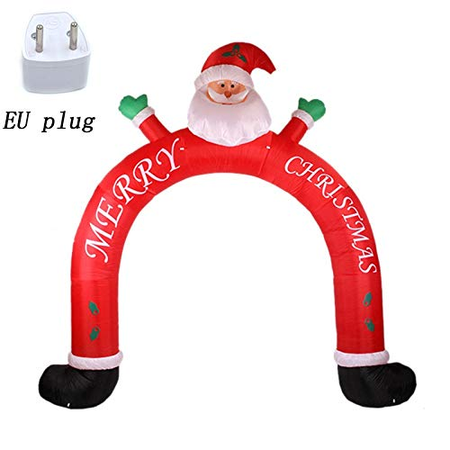 GSOLOYL Christmas tree items decoration 3M Inflatable Santa Claus And Snowman Archway Arched Door Blow-Up LED Lighted Christmas Decoration Advertising Outdoor Toys (Color : EU Plug)