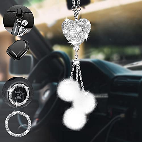 Bling Car Rearview Mirror Accessories for Women&Men, ToyaJeco Diamond White Heart Fuzzy Drops Crystal Car Hanging Ornament Pendant, Lucky Rhinestone Heart Charm Decor (White)